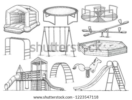 Playground equipment collection, illustration, drawing, engraving, ink, line art, vector