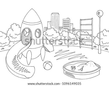 Playground graphic black white landscape sketch illustration vector