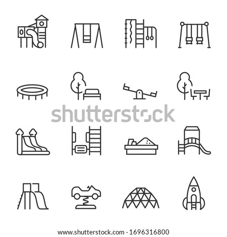 Playground, icon set. Play area for children outdoors, linear icons. Line with editable stroke Stockfoto ©