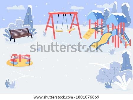 playground in winter flat color