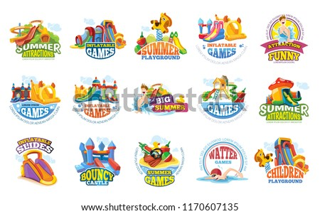 playground labels. aqua water park summer entertainments games inflatable slide advertize colored badges and logos vector illustrations