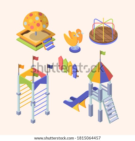 Playground rides isometric set. Colorful slippers with wooden steps rainbow roof large sandbox with plastic cartoon mushroom mechanical carousel plywood duck massive spring to swing. Vector isometry.