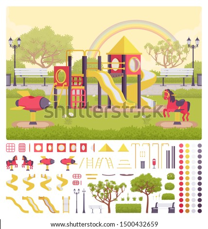 Playground structure creation set, outdoor decor idea, equipment for recreation, kid fun kit, constructor element to build your own design. Cartoon flat style infographic illustration, color palette