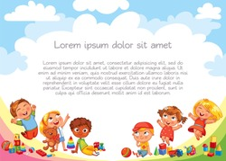 Playground. Template for advertising brochure. Ready for your message. Children look up with interest. Kid pointing at a blank template. Lorem ipsum. Funny cartoon character. Vector illustration