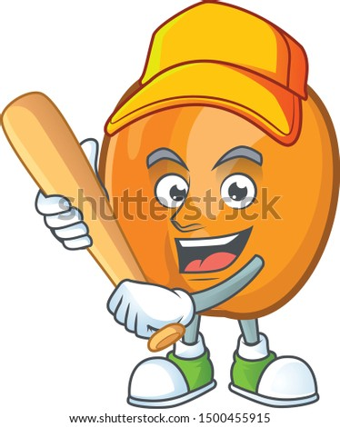 Playing baseball apricot cartoon character for nutritious maskot