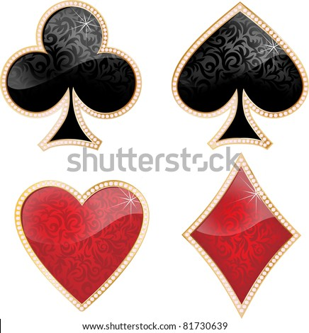 Playing card decorated with brilliants and texture. - stock vector