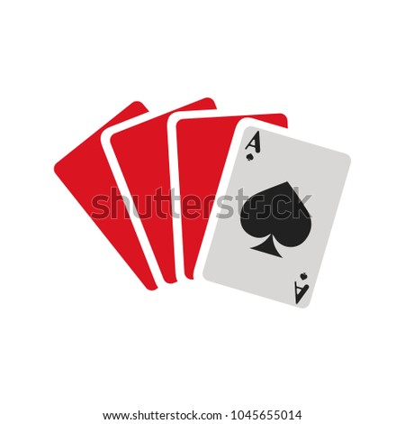 Playing card illustration, casino icon, gamble symbol