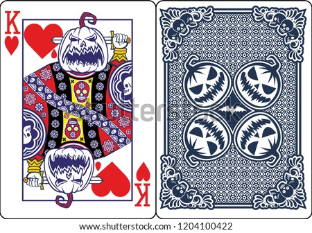 Playing card, King of Heart, with Halloween Pumpkin
