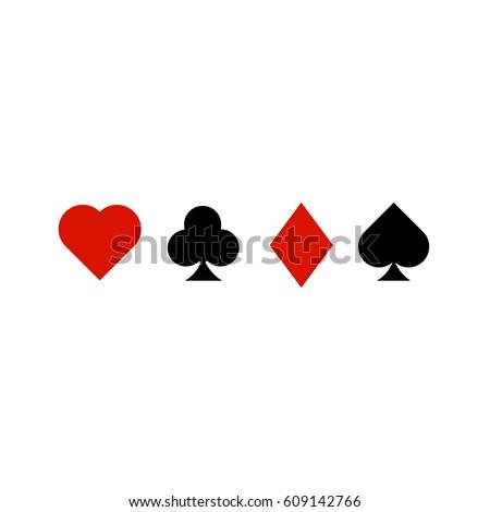 Playing card symbols on white background. Card symbols, icons. Casino concept.