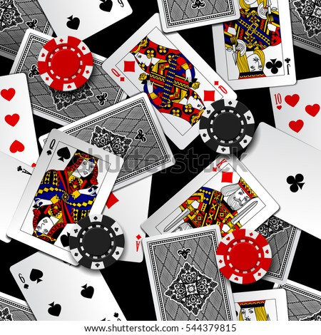 Playing cards and casino chips seamless pattern background. Vector illustration