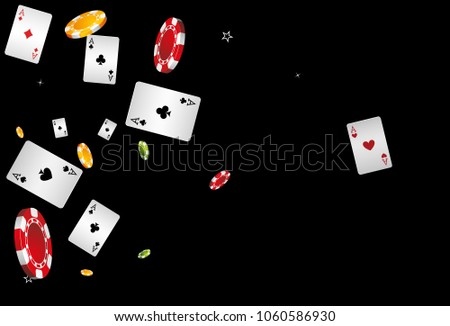 Playing Cards and Chips Falling on Black Background. Vector illustration