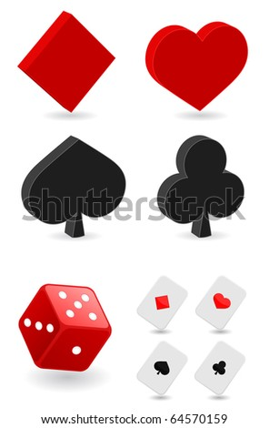 playing cards and dice - stock vector