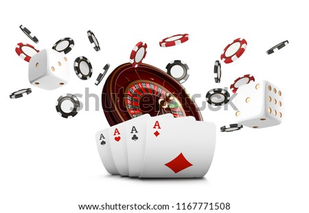 Playing cards and poker chips fly casino. Casino roulette concept on white background. Poker casino vector illustration. Red and black realistic chip in the air. Gambling poker mobile app icon