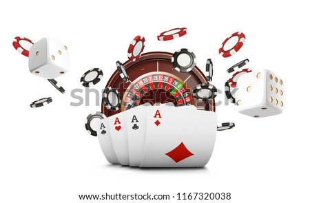 Playing cards and poker chips fly casino. Concept on white background. Poker casino vector illustration. Red and black realistic chip in the air. Gambling concept, poker mobile app icon