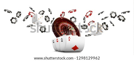 Playing cards and poker chips fly casino wide banner. Casino roulette concept on white background. Poker casino vector illustration. Realistic Casino design. Gambling poker template
