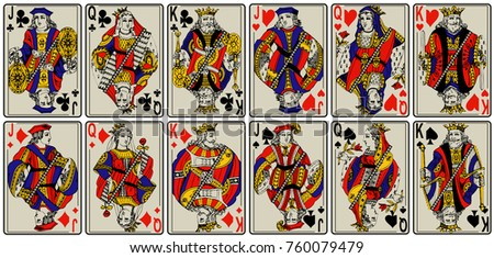 playing cards, classical style design. Set of portraits of the King, Queen and Jack. design number 1, in vintage style. France Paris pattern