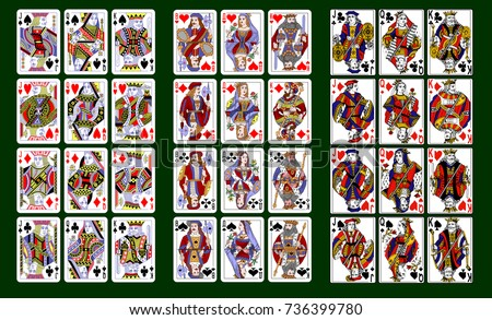 playing cards, classical style design. Set of portraits of the King, Queen and Jack. Three different collections, three different design styles.