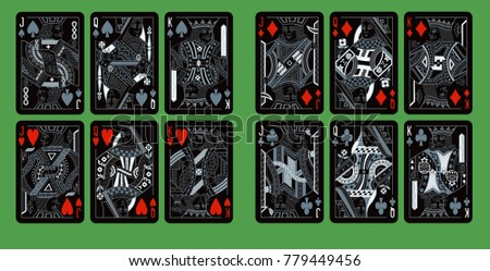 playing cards, classical style ( English pattern ). new design in black and silver colors. Set of portraits of the King, Queen and Jack.
