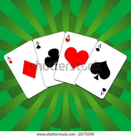 neon green aces cards poker hands