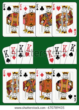 Playing cards: four kings in four different arrangements green background in a separate layer