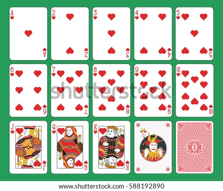 Playing cards hearts suit on green background. Original figures, joker and back.