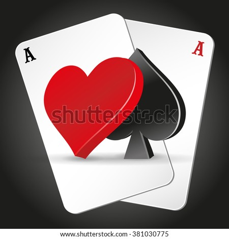 Playing cards. illustration on a casino theme with poker symbols and cards on dark background. icons web. poker vector.
