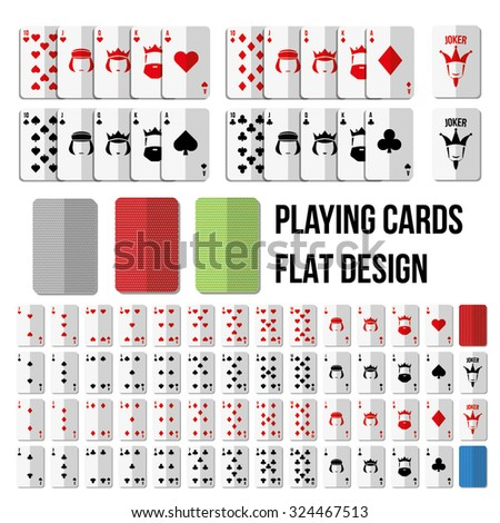 playing cards in flat style