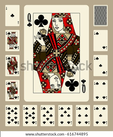 Playing cards of Clubs suit in vintage style. Original design. Vector illustration