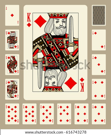 Playing cards of Diamonds suit in vintage style. Original design. Vector illustration