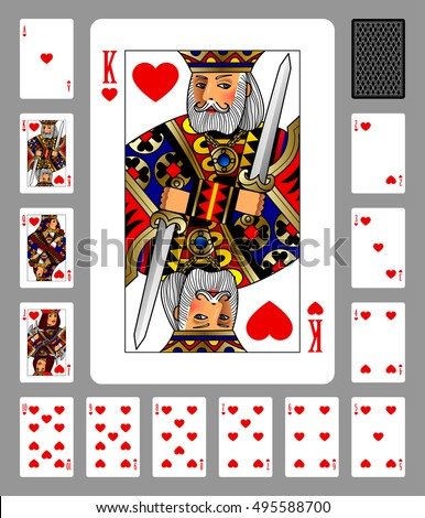 playing cards of hearts suit