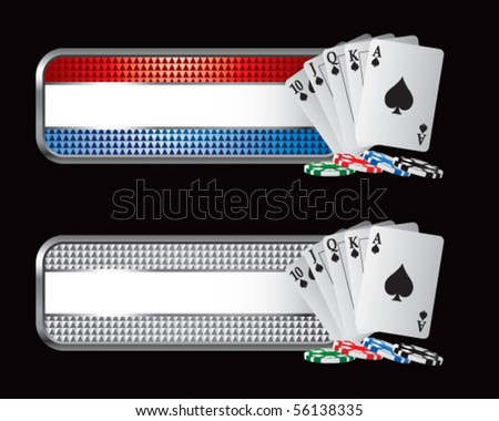 playing cards on striped tabs