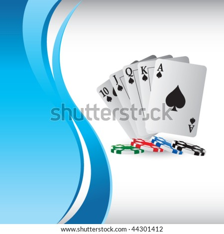 playing cards on vertical blue wave background