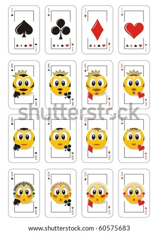 Playing cards, Russian. Vector Smile Illustration