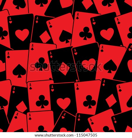 Playing cards seamless background pattern. Vector illustration.