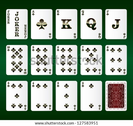 Playing cards Set. Clubs. Vector illustration
