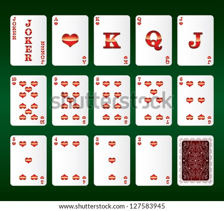 Playing cards Set. Hearts. Vector illustration