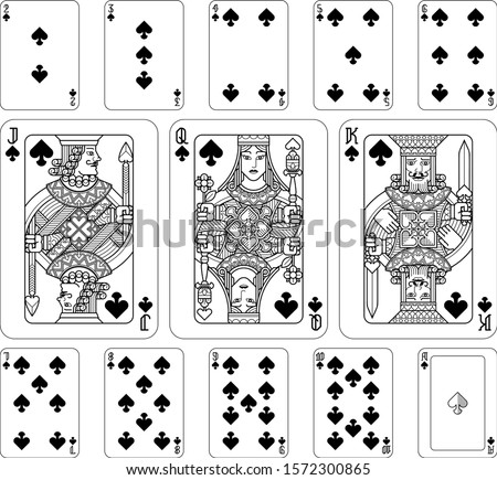 playing cards spades set in