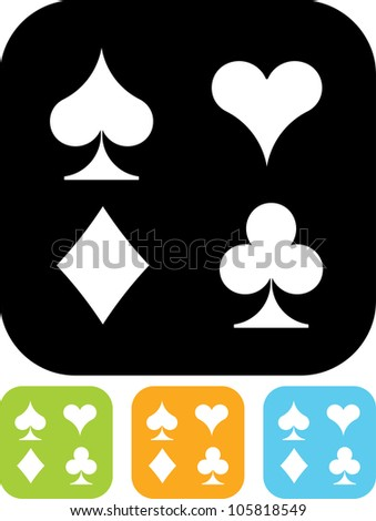 Playing cards suits - Vector icon isolated - stock vector