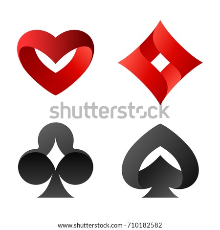 Playing cards vector symbols.  spades, hearts, diamonds, club Logos.