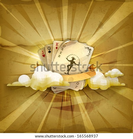 Playing cards with a joker, old style vector background