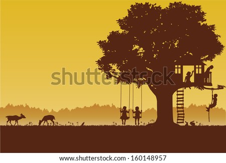playing children silhouette at
