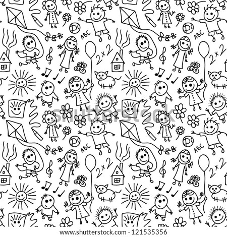 Playing children vector seamless pattern.