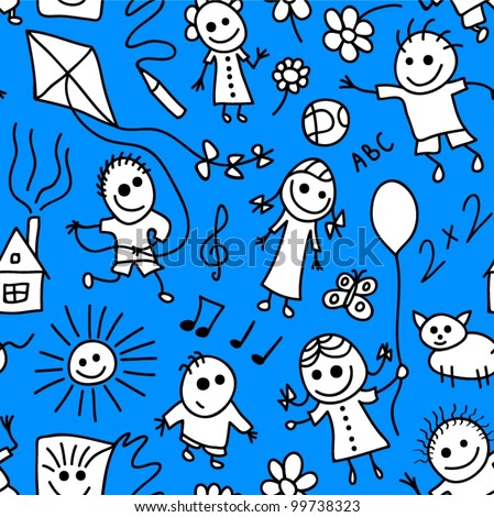 Playing children vector seamless pattern.