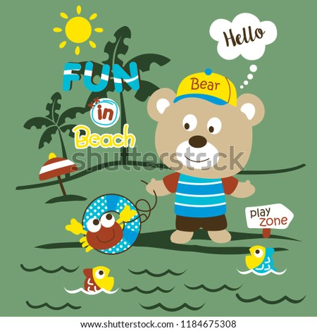 playing in the beach funny animal cartoon,vector illustration #1184675308
