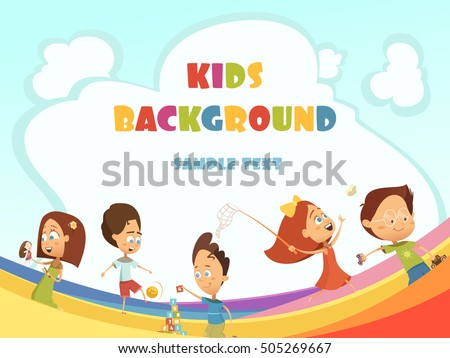 Playing kids cartoon background with outdoor and indoor activities symbols vector illustration