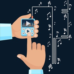 Playing music in Mp3 player hands on background with notes. Finger presses button play flat design cartoon style. Touchphone with connected headphones
