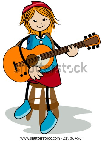 Playing the Guitar - Vector