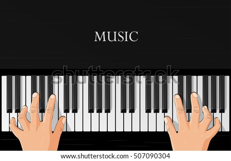 playing the piano  hands on