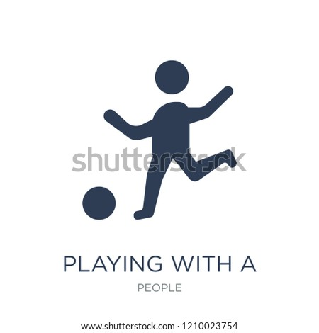 Playing with a Ball icon. Trendy flat vector Playing with a Ball icon on white background from People collection, vector illustration can be use for web and mobile, eps10 stock photo