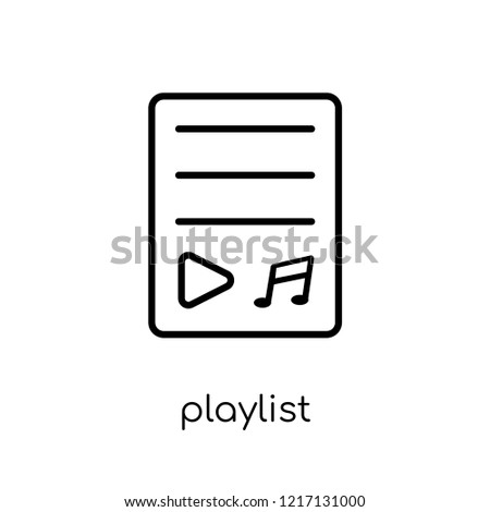 playlist icon. Trendy modern flat linear vector playlist icon on white background from thin line Music collection, outline vector illustration